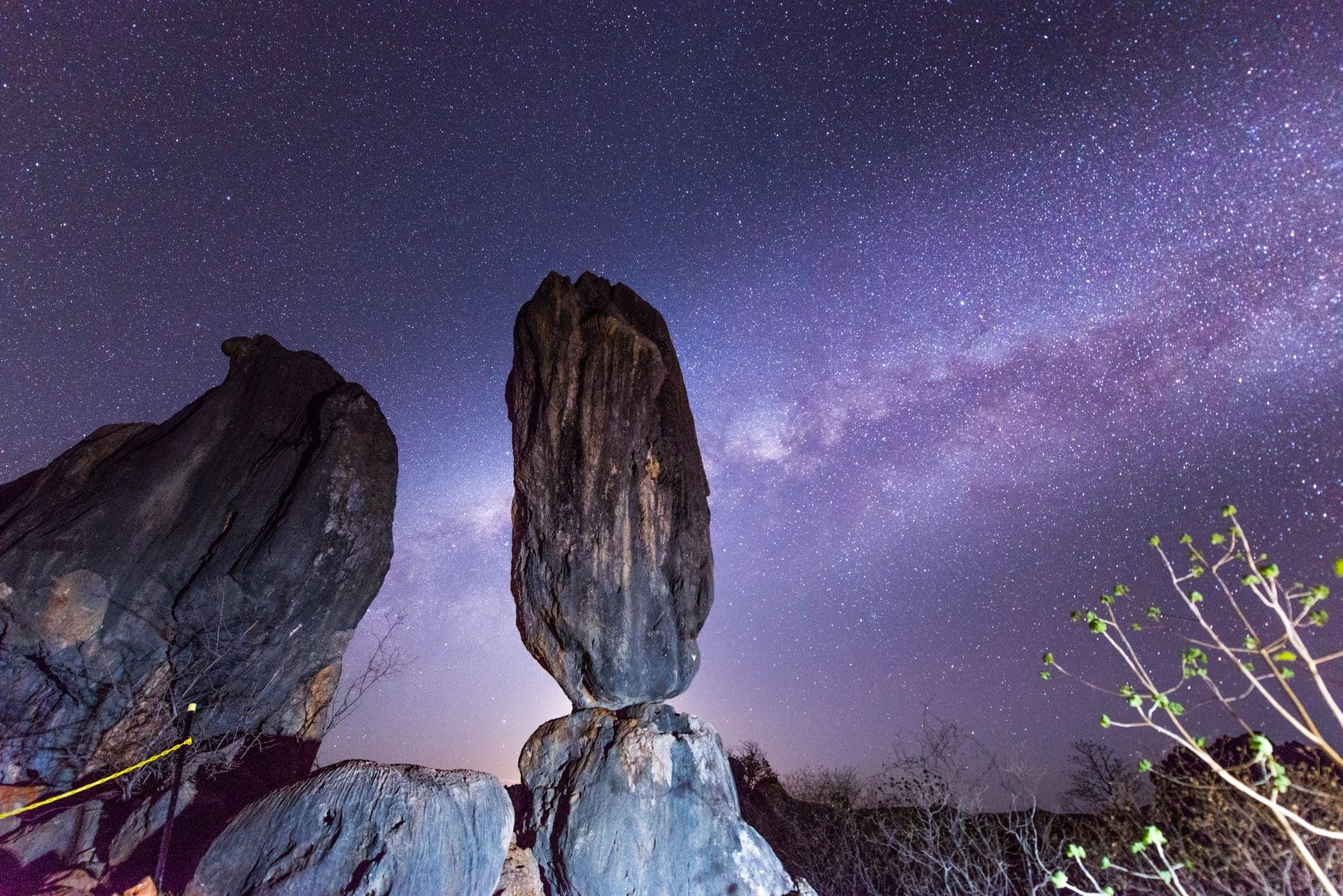 Starry night sky at the Balancing Rock in Chillagoe - Mareeba Shire
